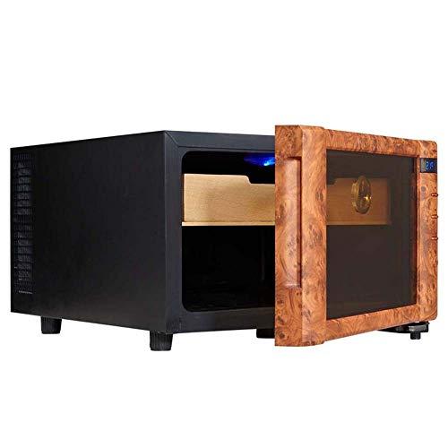 Atten Weintemperierschrank Kleiner Desktop Red Wine Zigarrenkühler Massivholz-Double-Layer-elektronische LED-Anzeige Gehäuse Eingebaut in Hygrometer -