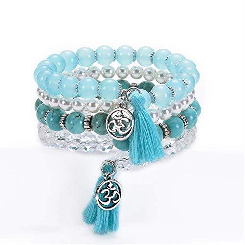 ruofengpuzi Bohemian Blue Yoga Glamour Crystal Turquoise Stone Beads Pulsera De Borla para Mujer Pulseras con Encanto Pulsras Mujer Joyería Luz Dorada Amarillo