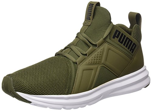 14. Puma Men's Enzo Mesh Olive Night-Puma White Running Shoes