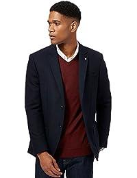 Debenhams J by Jasper Conran Big and Tall Navy Textured Single Breasted Wool Blend Jacket