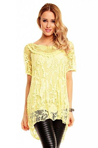 Mayaadi Tunika in Netz-Optik mit Top 2 Teilige Damen Bluse mit Top Kombiniert in One Size 5111 Gelb