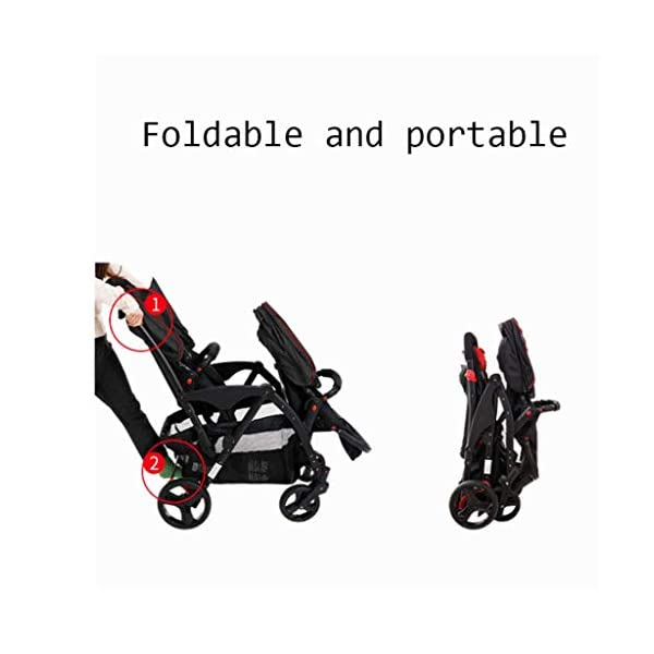 Connect Tandem Pushchair Twins Baby Stroller Can Shock Can be Split Two Tires Double Trolley Travel System  Lightweight and compact Travel System ideal for everyday use or travel. One-hand fold mechanism lets you easily fold the pushchair. Multi-position reclining chair for comfort. 3