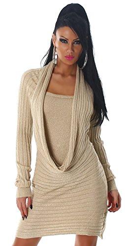 Damen Strickkleid & Pullover mit Wasserfall-Ausschnitt Einheitsgröße (34-40), beige