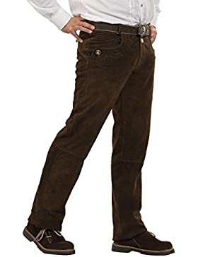 Almsach Herren Lange Lederhose dunkelbraun 'Vincent', dunkelbraun,