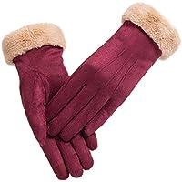 Guantes de gamuza Manoplas, Calentamiento del otoño / invierno de las mujeres, más guantes de terciopelo para montar en bicicleta y pantalla táctil al aire libre (talla única, mujeres) ( Color : Red )