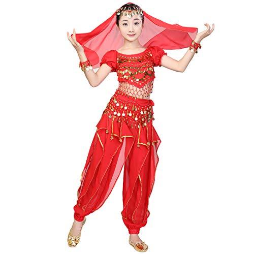 Bauchtanz Perfomance Kostüm 6 stücke Kit für Mädchen, Kinder Arabian Princess Indian Dance Kleidung Anzug Glänzende Karneval Outfit Party Kostüm (M, Rot) (Indian Princess Kostüm Kind)