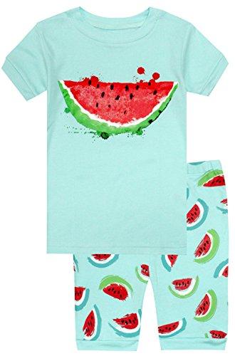 Zweiteiliger Kurzarm Schlafanzug Kinder Melone - Design Pyjama Mädchen Short (Görßen 2-10 Jahre) 6 Jahre - Kinder Mädchen Short Pj