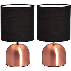 BRUBAKER - Lampe de table/de chevet - Lot de 2 - Design industriel - Hauteur 28 cm - Pied en Cuivre - Abat-jour en Tissu/Noir