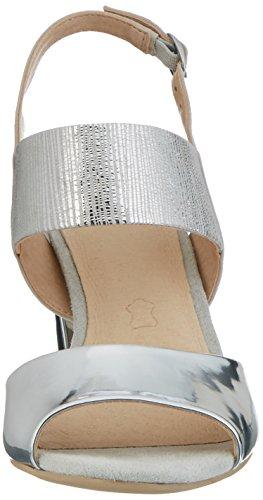 Caprice 28307, Sandales Bout Ouvert Femme Argent (Silver Me.comb)