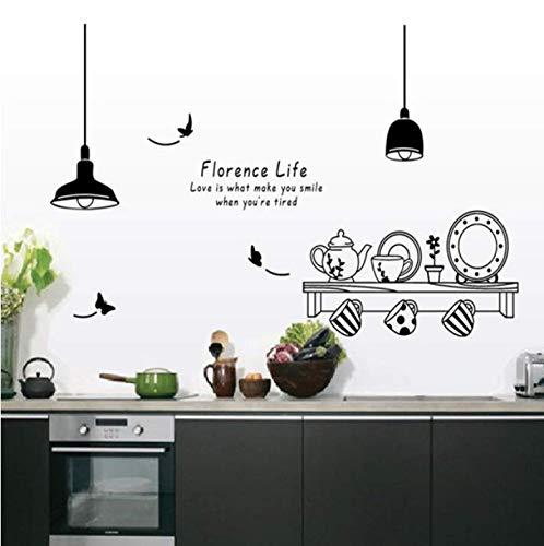 Florenz leben entfernbare wandaufkleber küche restaurant tee tasse schrank dekoration aufkleber wandbild 60X90 CM Florenz-tee