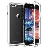 CE-Link Funda iPhone 6 Funda iPhone 6s, Carcasa Fundas Magnética Cubierta de Trasera de Vidrio Templado Transparente con Metal Parachoque Imanes Incorporados 360 Grados - Plata