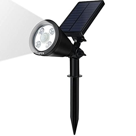 Solar Spotlights BestFire Solar Powered Garden Spotlight 4LED Waterproof Outdoor Garden Landscape Spot Light Adjustable Wall Light Security Lighting Auto On/Off for Yard Garden Patio Deck Driveway Pathway Pool -- Ground or Wall Mount