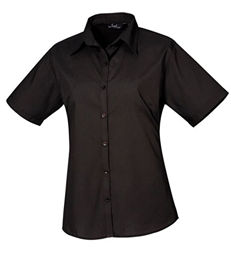 Premier Damen Blouse Short Sleeve Poplin Fitted Office Workwear Business Shirt Schwarz - Schwarz