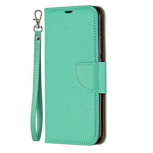 Huawei Y6 2019 Handytasche, Honor 8A Hülle Geschäft PU Leder Tasche Handyhülle Flip Case Cover Schutzhülle Skin Ständer Klapphülle Schale Bumper Magnet Clip Deckel Bumper Grün -