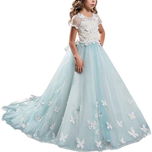 Kleid Pinzessin Kostüm Lange Brautjungfern Kleider Hochzeit Party Festzug #12 Türkis+Weiß 4-5 Jahre (Kostüme Für Kinder Prinzessin)