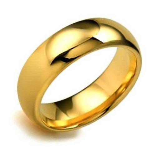 Bling Jewelry Einfache Dome Paare Ehering Ringe Poliert 14K Vergoldete Tungsten Ringe Für Herren Für Damen Comfort Fit 8MM