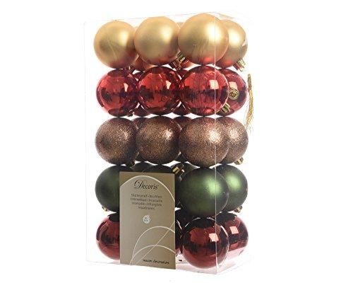 30 Stück Christbaumkugeln Kuststoff PVC 6cm ( Grand Cafe ) Weihnachtskugeln Baumschmuck Dekokugeln Glitter MIX Baumkugeln bruchfest -