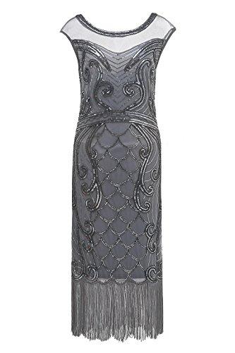 Metme Frauen der 1920er Jahre Mode Art-Deco-Perlen Pailletten Cocktail Gatsby Flapper Kostüm Fringe schwarzes ()