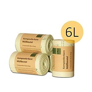 Kompostierbare Bio-Müllbeutel 6L mit & ohne Henkel – 100% kompostierbar und biologisch abbaubar – 200 Stk. 6 Liter Bio-Beutel mit & ohne Tragegriff für Ihre Biotonne & Kompost