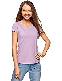 544a5b81a8a70 oodji Ultra Mujer Camiseta Básica de Algodón