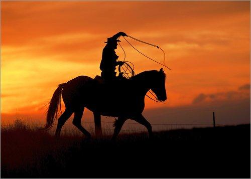 Posterlounge Acrylglasbild 120 x 90 cm: Cowboy mit Pferd im Abendrot von Joe Restuccia III/Danita Delimont - Wandbild, Acryl Glasbild, Druck auf Acryl Glas Bild