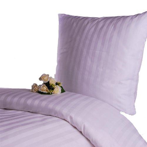 Hans-Textil-Shop Damast Hotelbettwäsche 135x200 cm Streifen 20 mm Weiß -