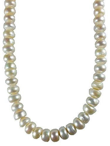 AqBeadsUK naturale 9x6mm acqua dolce bianco perla borda Rondelle collana 18,7 pollici