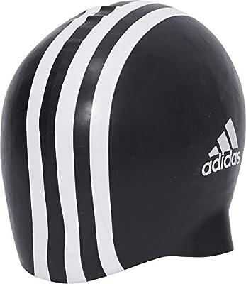 adidas Silicone 3-Stripes 1 Piece Gorro, Unisex adulto, Negro / Blanco (Negro / Blanco), Talla Única