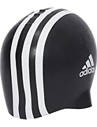 adidas Silicone 3-Stripes 1 Piece Swimming Cap, Unisex Adulto, Black/White