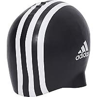 adidas Silicon 3 Stripes - Gorro de natación, color negro, talla Talla única