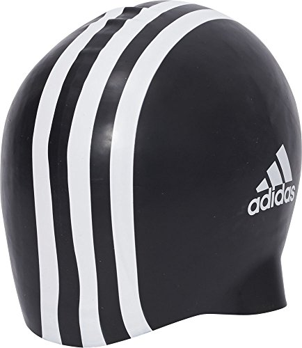 adidas Herren Badekappe Silicone 3 Stripes 1 Piece, Black/White, One Size, 802310