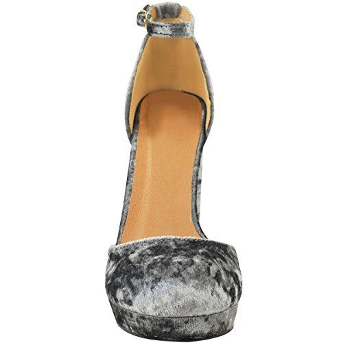 donna plateau tacco largo alto caviglia con spalline velluto sandali scarpe numero GRIGIO VELLUTO spiegazzato
