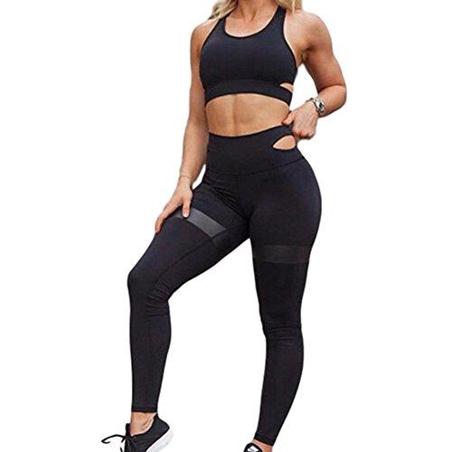 Morbuy Bekleidung Yoga Set, Komfort Damen Sport BH Jogginghose Sport Leggings Yoga Hose Trainingshose Sport Bustier ohne Bügel Yoga Fitness Training (S, Schwarz)