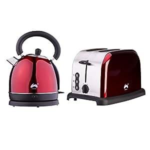 Als Direct Ltd ? groß Schnell kochen Dome Wasserkocher + 2Slice Toaster breit Slot Set - rot