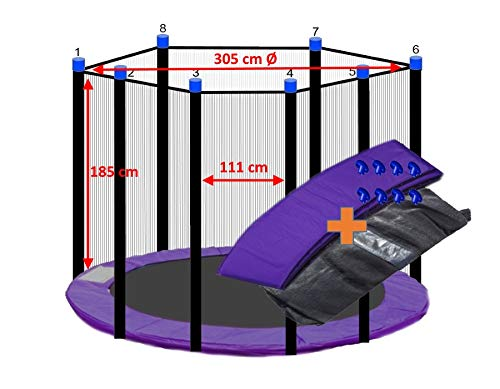 awshop24 Trampolin Randabdeckung Lila + Sicherheitsnetz 8 Stangen 305 cm Ø