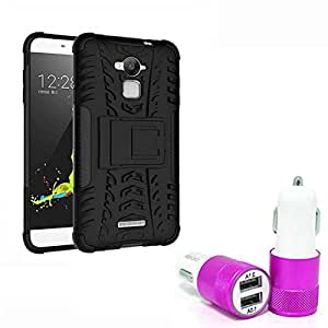 Aart Hard Dual Tough Military Grade Defender Series Bumper back case with Flip Kick Stand for CoolPad Dezone Note3 + Car Charger With 2 Fast Charging USB Ports by Aart Store.