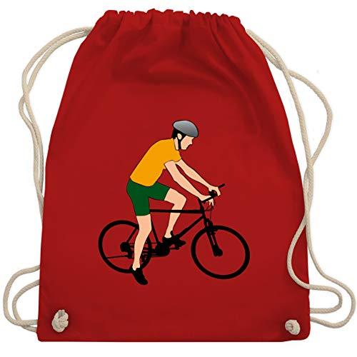 Shirtracer Radsport - Fahrradfahrer Citybike Radfahrer - Unisize - Rot - WM110 - Turnbeutel und Stoffbeutel aus Bio-Baumwolle