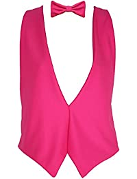 The Dragons Den Neon Pink Backless Elasticated Waistcoat & Bowtie