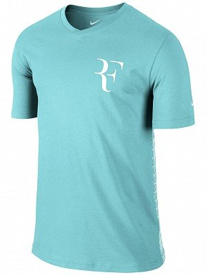 Nike Mens Roger Federer Tennis V-Neck Shirt (Copa Blue) (V-neck-sport Shirt Soccer)