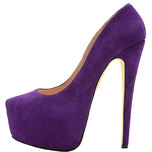 Plateau Heels Eu Pumpen Wildleder 069 High Merumote Stilettos 46 35 Party Damen faux Lila Pumps Y t0Wvpnq