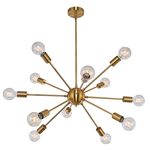 OYI Sputnik Kronleuchter Modern Pendelleuchte 12 Flammig Hängelampe E27 Lampenfassung Brass Metall für Esszimmer Zimmer Wohnzimmer Küche Restaurant