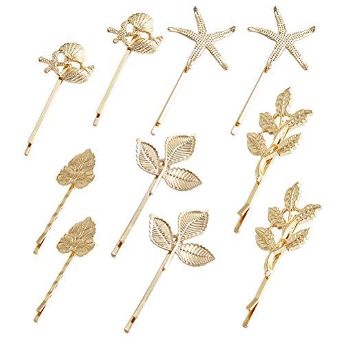 Lurrose 10 stücke Goldene Haarspangen Legierung Metall Blatt Sea Star Hair Pins Bobby Pins Styling Haarspangen für Frauen Mädchen
