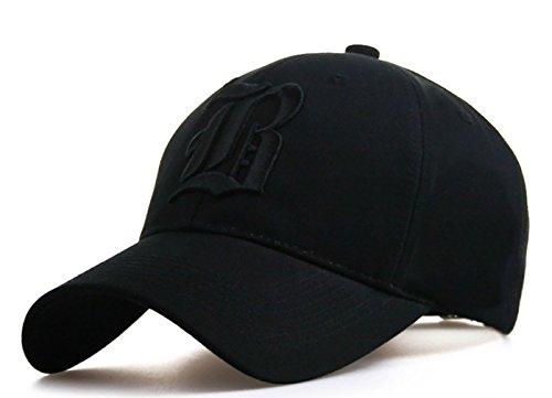 Gorra de béisbol ajustable, de algodón, con letra B bordada, de estilo vintage, unisex, Hombre, snapback Black B Black, Large / X-Large