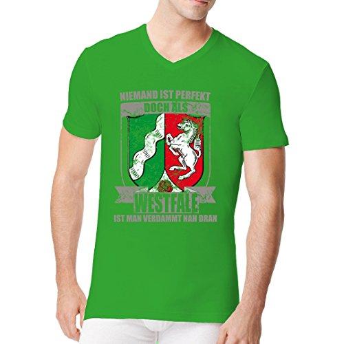 Fun Sprüche Männer V-Neck Shirt - Wappen Shirt Perfekter Westfale by Im-Shirt Kelly Green
