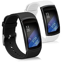 kwmobile 2en1: 2x Correa de repuesto para Samsung Gear Fit2 / Gear Fit 2 Pro en negro blanco Dimensiones interiores: approx. 13 - 20 cm - banda de silicona sin Fitness Tracker