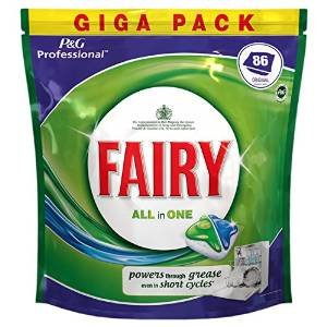 Fairy Dishwasher Tablets Original 86 All in One Professional Giga Pack Powerful Cleaning Action Tough Stain Removal Powers Through Grease Even In Short Cycles Liquid Grease Dissolvers Super Shine Function Limescale Prevention PLUS SHORT CYCLE CLEANING ACTION (86)