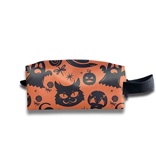 Schwarze Katzen und Mitternacht Halloween Magic_12033 Tragbare Reise Make-up Kosmetiktaschen Organizer Multifunktions Tasche Taschen für Unisex
