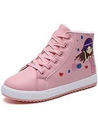 SIKESONG Zapatos De Algodón Alumnas Nuevas Zapatillas De Mujer Caliente PU Plana Alta-Top Sneakers