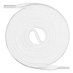 Mount Swiss Flache Schnürsenkel aus 100% Baumwolle für Sneakers und Sportschuhe - sehr reißfest - 7 mm breit Farbe Weiß Länge 150cm