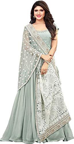 FIORI DESIGN Women\'s Faux Georgette Anarkali Gown (Sky Blue, Free Size)